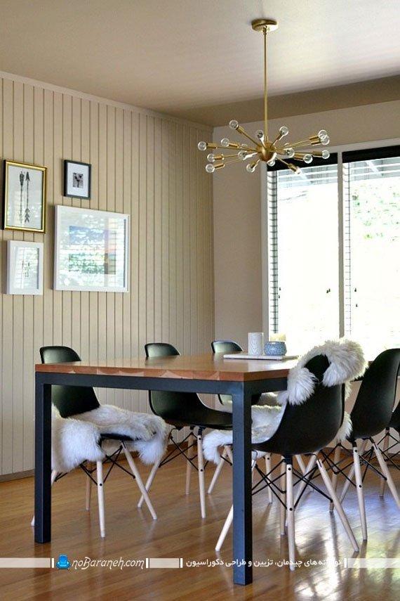 نورپردازی ساده و زیبا با لوستر سقفی چند شاخه
