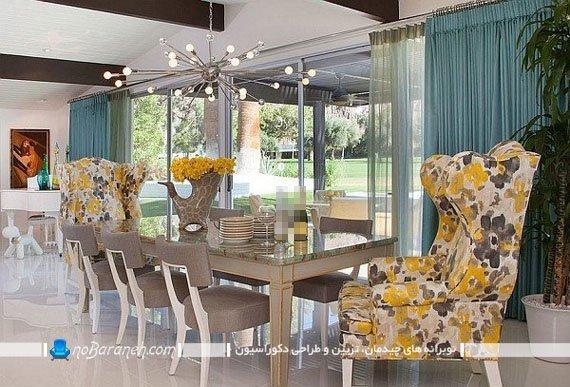 لوستر ظریف چند شاخه برای نصب روی میز ناهار خوری