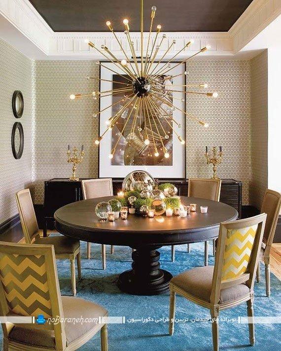 نورپردازی میز ناهارخوری با لوستر بزرگ
