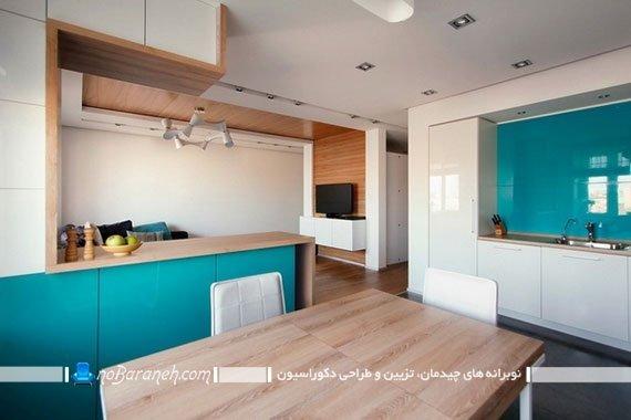 رنگ فیروزه ای در دکوراسیون آشپزخانه / عکس