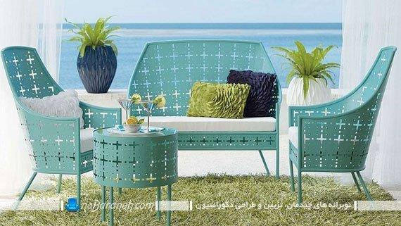 میز و صندلی فیروزه ای / عکس