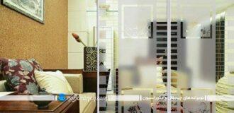 پارتیشن شیشه ای مات و طرحدار برای اتاق نشیمن