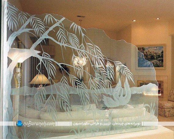 پارتیشن شیشه ای برای جداسازی فضای نشیمن در سالن خانه