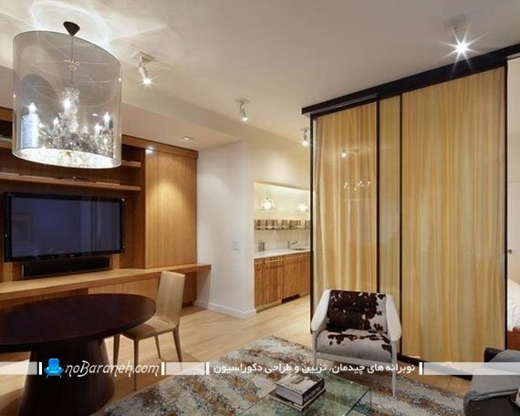 پارتیشن بندی سالن خانه با پرده و دیواره شیشه ای