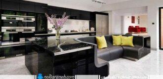 طراحی دکوراسیون جزیره ای با رنگ سیاه در آشپزخانه