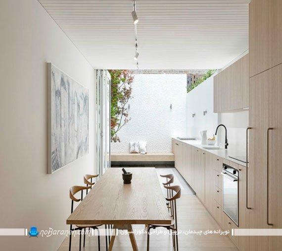 طراحی دکوراسیون آشپزخانه کشیده و عریض، مدل های نصب کابینت در آشپزخانه