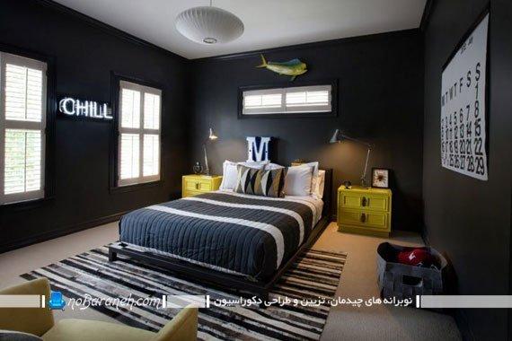 طراحی دکوراسیون مدرن در اتاق خواب با کنتراست رنگی و سبک آینه ای، طراحی دکوراسیون مدرن در اتاق خواب با کنتراست رنگی و سبک آینه ای