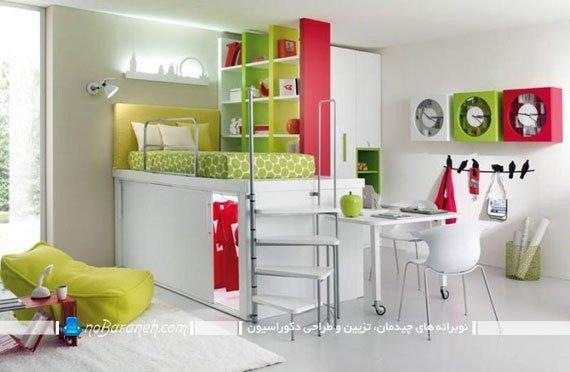 هارمونی زیبا با رنگ های شاد در دکوراسیون اتاق کودکف طراحی دکوراسیون اتاق بچه با رنگ های شاد