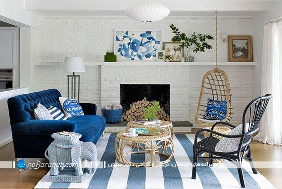 هارمونی رنگ آبی در دکوراسیون اتاق نشیمن کلاسیک، چیدمان زیبا در اتاق نشیمن کوچک و دنج