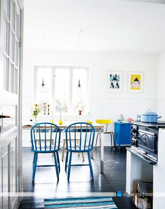 هارمونی رنگ آبی در چیدمان آشپزخانه