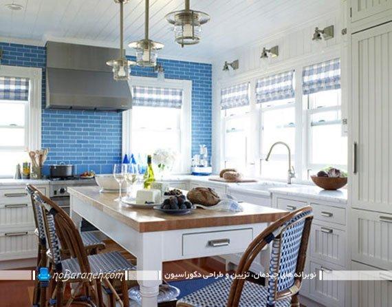 هارمونی رنگ آبی در دکوراسیون آشپزخانه