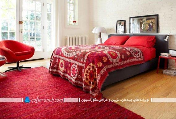 هارمونی رنگ قرمز در اتاق خواب عروس و داماد، طراحی دکوراسیون شیک و ساده اتاق عروس