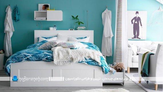 هارمونی رنگ آبی در اتاق خواب