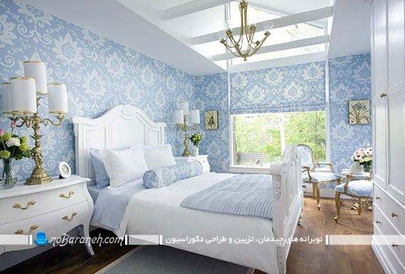 هارمونی رنگ آبی در اتاق خواب عروس