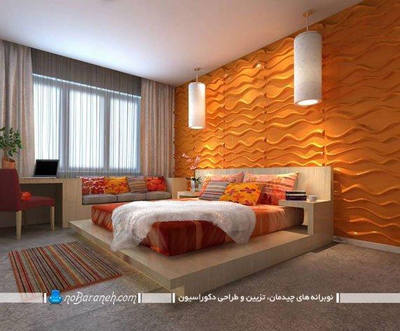 طراحی دکوراسیون قرینه در اتاق خواب عروس و داماد، مدل سرویس خواب چوبی یک تکه