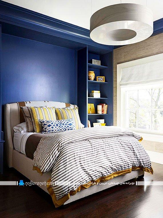 رنگ بندی اتاق خواب با آبی و قهوه ای