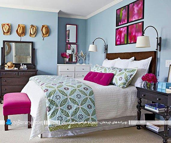 طراحی دکوراسیون اتاق خواب با صورتی و آبی