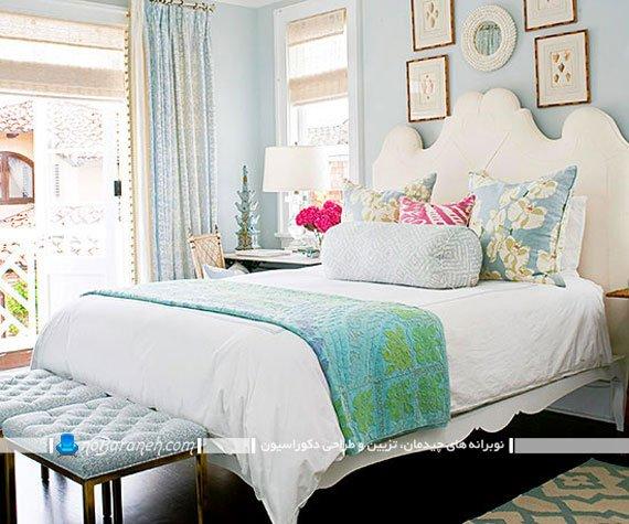 دیزاین اتاق خواب با رنگ آبی آسمانی