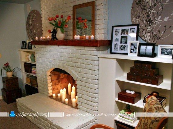 دیزاین شومینه قدیمی با شمع های ساده