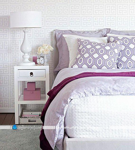 رنگ آمیزی اتاق خواب عروس با بنفش و سفید
