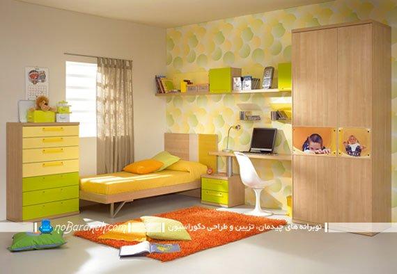 رنگ آمیزی دکوراسیون اتاق کودک با زرد و سبز