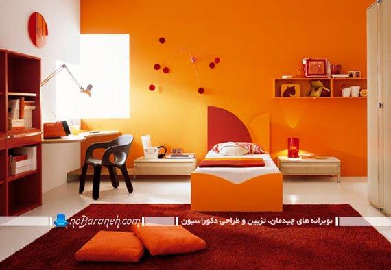 تزیین دخترانه اتاق کودک و نوجوان با نارنجی رنگ آمیزی اتاق کودک و نوجوان با نارنجی