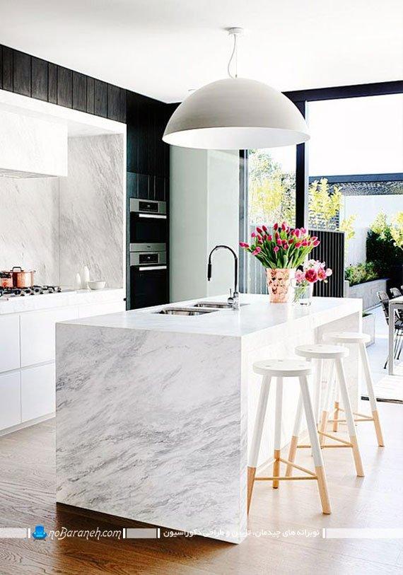عکس و مدل تزیین دکوراسیون آشپزخانه جزیره ای با گلدان گل