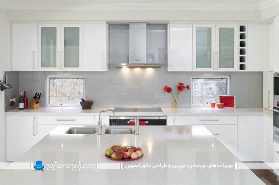 تزیین دکوراسیون آشپزخانه با گلدان گل