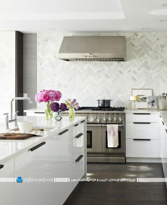 تزیین دکوراسیون آشپزخانه مدرن با کابینت های سفید رنگ
