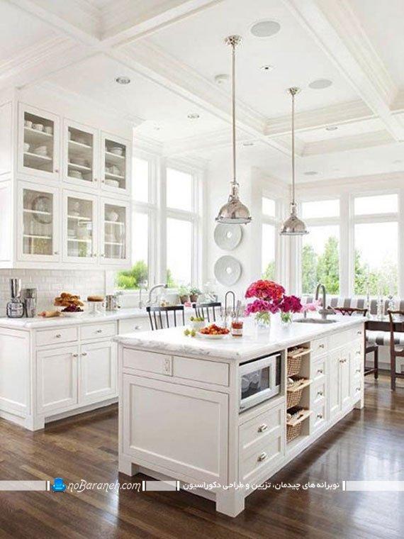 تزیین دکوراسیون آشپزخانه های با دکوراسیون سفید رنگ