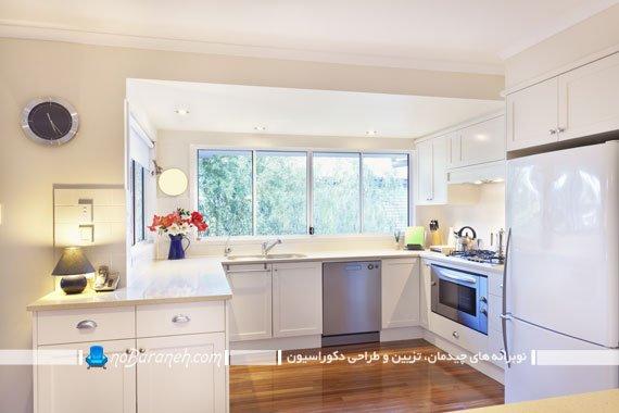 عکس و مدل تزیین دکوراسیون آشپزخانه اپن با گلدان گل