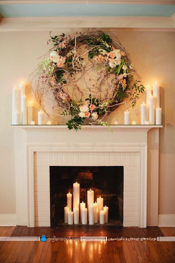 تزیین شومینه با وسایل ساده. تزیین داخل شومینه با شمع تزیین شومینه با شمع مدل بالای شومینه تزیین شومینه های کنج تزیین شومینه سه گوش تزیین شومینه با سنگ شمعدان روی شومینه تزیین شومینه با گل طبیعی