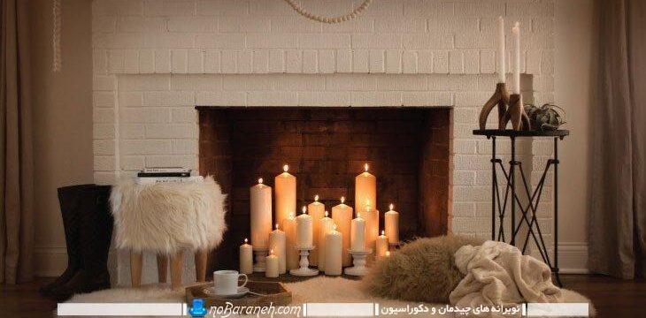 تزیین و دیزاین رمانتیک و عاشقانه با شمعها در کنار شومینه