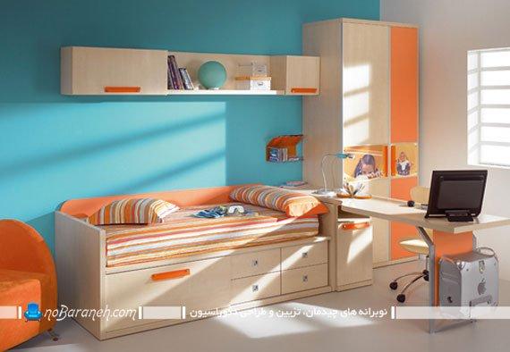 رنگ آمیزی دخترانه دکوراسیون اتاق کودک با نارنجی و آبی