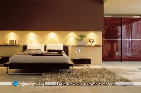 عکس و مدل اتاق خواب مدرن و زیبا با نقطه کانونی نورانی