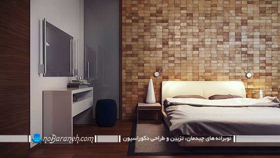 تزیین دیوار کانونی اتاق خواب با دیوارپوش