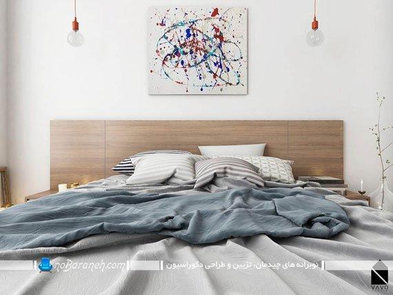 تزیین دیوار کانونی اتاق خواب با تابلو دکوراتیو