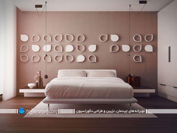 عکس و مدل ایجاد نقطه کانونی در اتاق خواب با تزیینات دیواری
