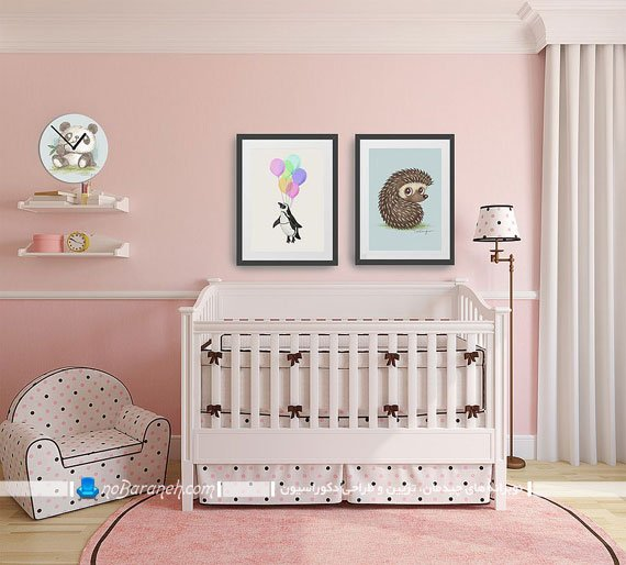 دیزاین اتاق کودک دختر با رنگ صورتی و قهوه ای