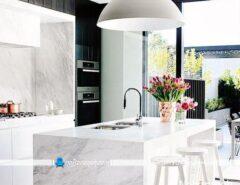 مدل میز اپن و جزیره ای آشپزخانه با رویه و قاب سنگی