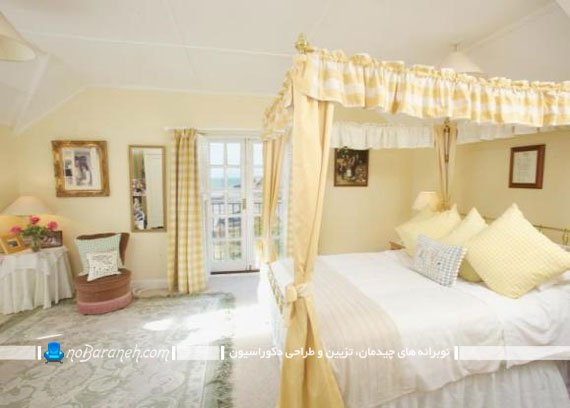 دیزاین اتاق خواب با رنگ زرد و کرم / عکس