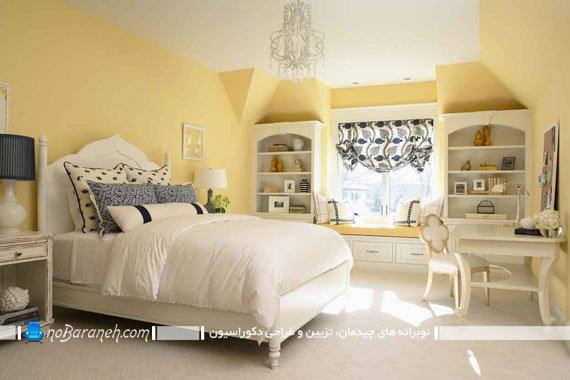 عکس و مدل اتاق خواب کلاسیک با دیوارهای زرد رنگ