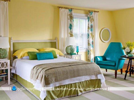 دیزاین اتاق خواب با رنگ زرد / عکس