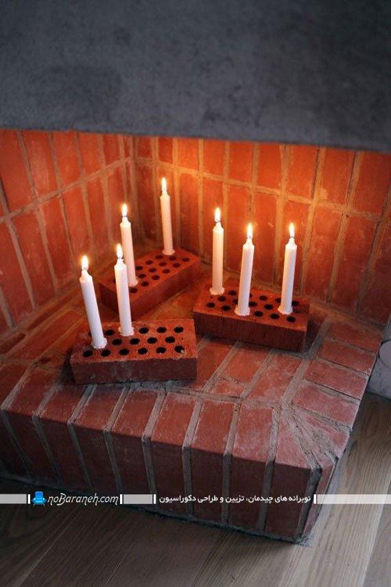 تزیین ساده و ارزان شومینه با شمع و آجر