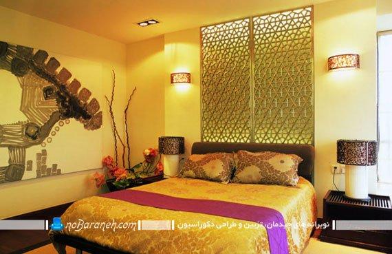 دیزاین اتاق خواب سلطنتی با رنگ زرد / عکس