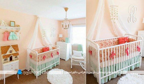 تزیین اتاق نوزاد دختر با رنگ های تیره و روشن