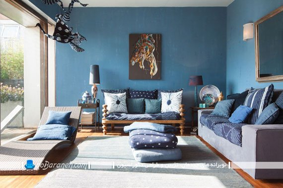 دیزاین اتاق پذیرایی با رنگ آبی نفتی
