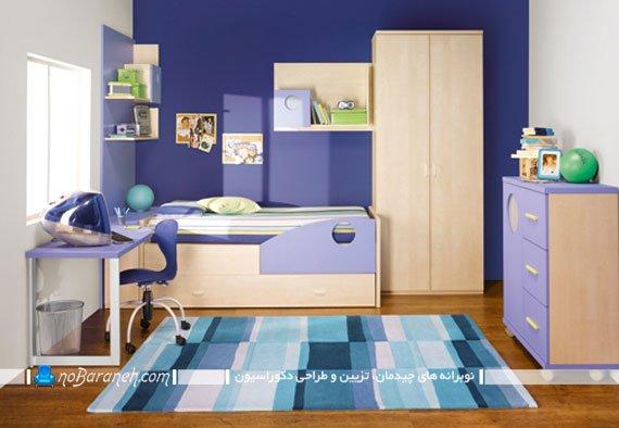 دیزاین اتاق کودک با رنگ بندی کرم و بنفش