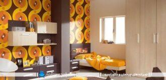 مدل کاغذ دیواری زرد و قهوه ای برای اتاق خواب نوجوانان