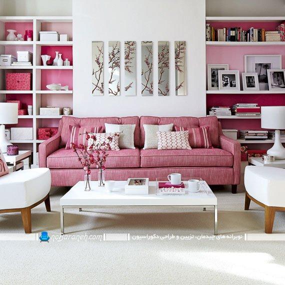 دیزاین اتاق نشیمن با رنگ صورتی و سفید